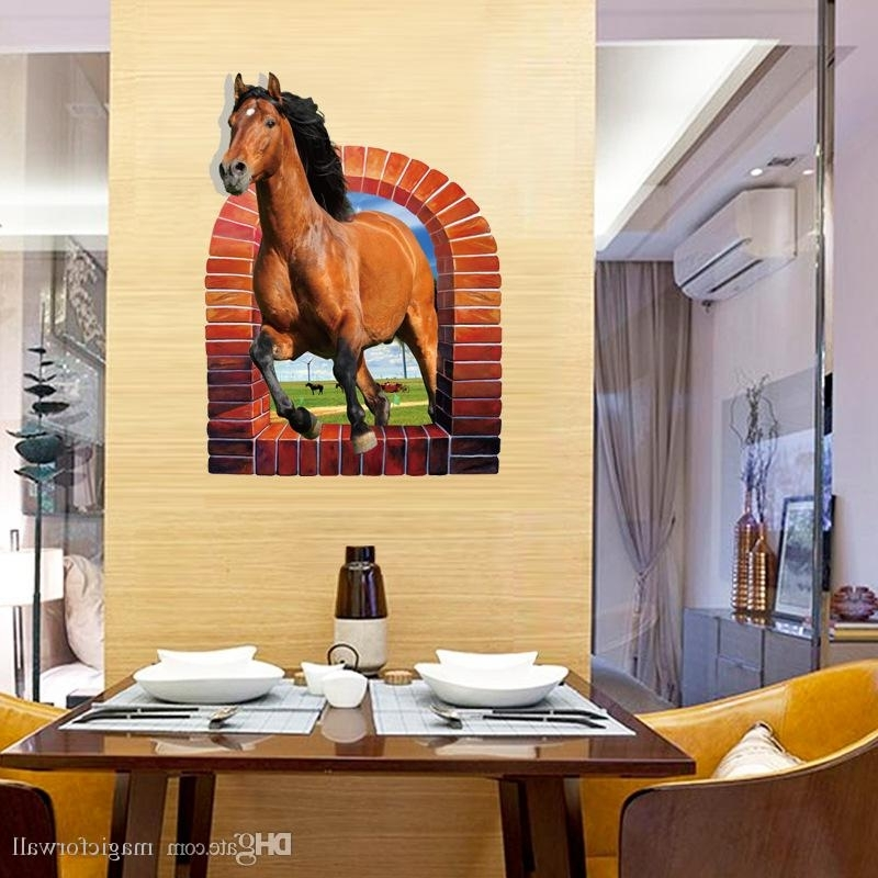 Most Popular 3D Horse Wall Art Intended For 3D Horse Ran Through The Window Wall Decals Horse On The Grassland (View 10 of 15)