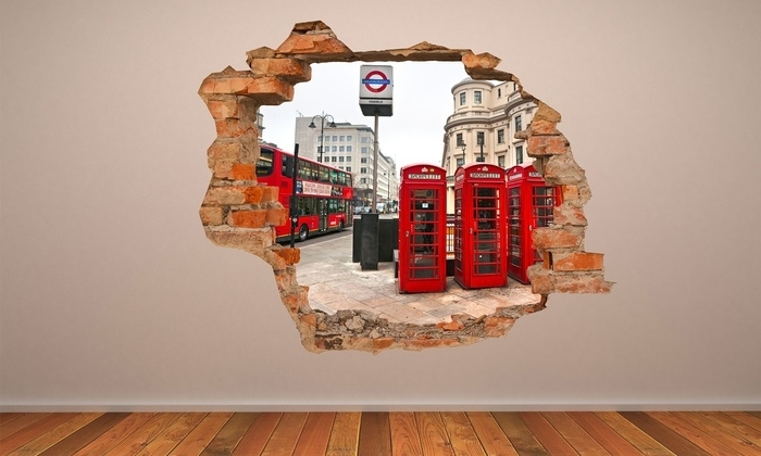 Most Popular 3D Visual Wall Art With Regard To 3D Effect Wall Vinyls (View 2 of 15)