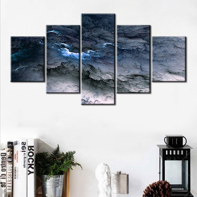 Most Popular 5 Pc Set Blue Grey Waves Abstract Cloud No Frame Oil Painting Canvas With Grey Abstract Canvas Wall Art (View 13 of 15)