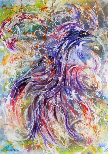 Most Popular Abstract Bird Wall Art Within Saatchi Art: Original Abstract Bird Painting, Blue Bird Happiness (View 14 of 15)