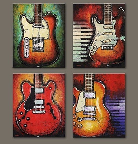 Most Popular Abstract Guitar Canvas Prints Wall Decor Art Music Painting Picture In Guitar Canvas Wall Art (View 10 of 15)