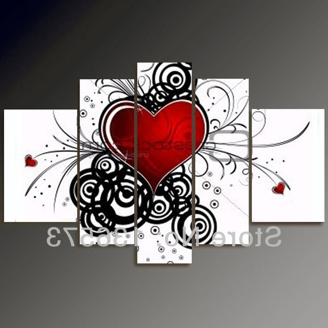 Most Popular Abstract Heart Wall Art Throughout Hand Painted Black White And Red Wall Art 5 Piece Modern Abstract (View 6 of 15)