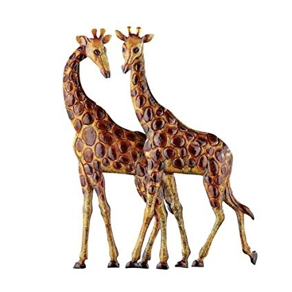 Most Popular African Metal Wall Art Within Amazon: Collections Etc Giraffes Metal Wall Art 3D Safari (View 12 of 15)