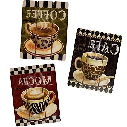 Most Popular Amazon: Coffee House Cup Mug Cafe Latte Java Mocha Wooden Intended For Cafe Latte Kitchen Wall Art (View 1 of 15)