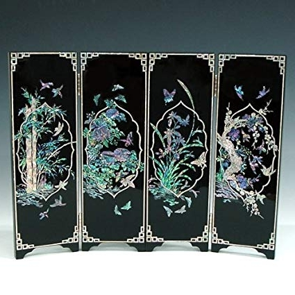 Most Popular Amazon: Mother Of Pearl Inlay Art Orchid, Chrysanthemum, Bamboo Regarding Mother Of Pearl Wall Art (View 2 of 15)