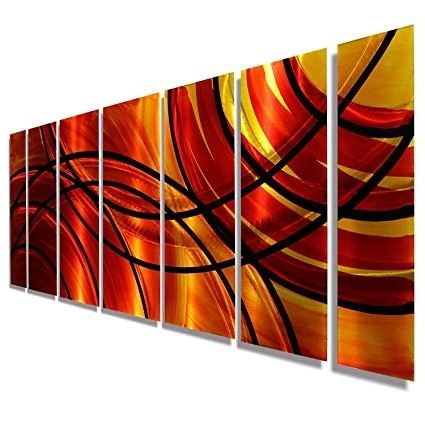 Most Popular Amazon: Red, Orange, Gold & Black Abstract Metal Wall Art For Abstract Orange Wall Art (View 8 of 15)