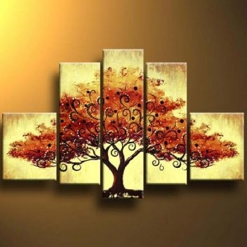 Most Popular Autumn Tree Ii Modern Canvas Art Wall Decor Landscape Oil Painting Pertaining To Canvas Landscape Wall Art (View 8 of 15)