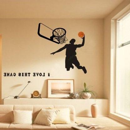 Most Popular Basketball Wall Decals,nba Michael Jordan Decal,sports Boys Wall Pertaining To Nba Wall Murals (View 7 of 15)