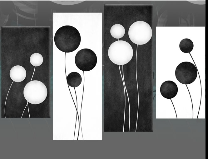 Most Popular Black And White Canvas Art Large Black And White Abstract Circles Throughout Abstract Circles Wall Art (View 11 of 15)