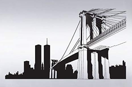 Most Popular Brooklyn Bridge Wall Decals Intended For Amazon : Vinyl Wall Art Decal Sticker Nyc Brooklyn Bridge World (View 2 of 15)