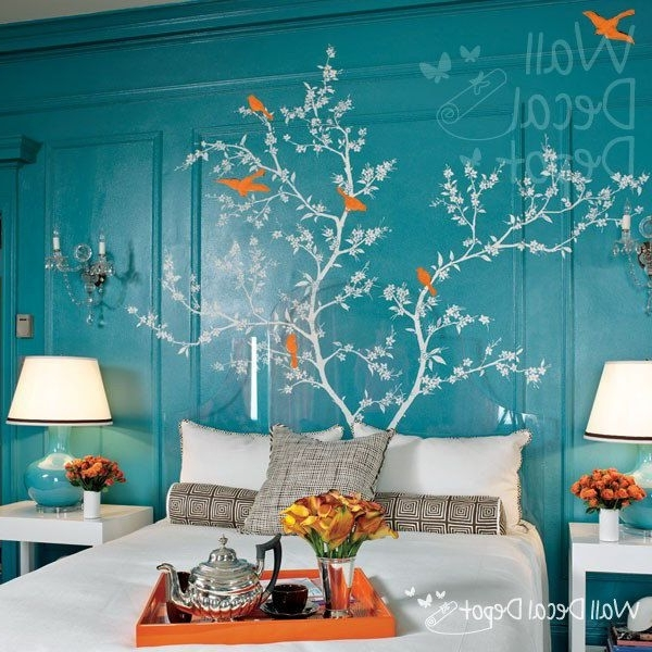 Most Popular Chinoiserie Wall Art With Regard To Pretty Bedroom With Etsy Vinyl Tree Decal Wall Decal Wall Sticker (View 13 of 15)