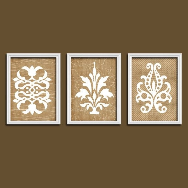 Most Popular Damask Wall Art, Canvas Or Prints, Brown Bathroom Decor, Brown With French Country Wall Art Prints (View 5 of 15)