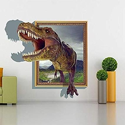 Most Popular Dinosaurs 3D Wall Art Throughout Amazon: 3D Dinosaur T Rex Head Wall Art Sticker Kids Boys (View 10 of 15)