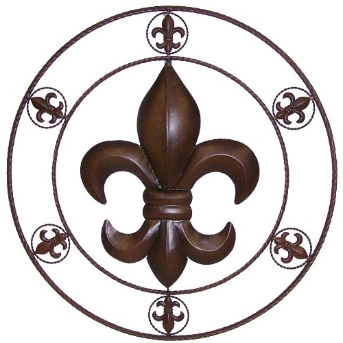 Most Popular Fleur De Lis Metal Wall Art Within Amazon: Ll Home Metal Circled Fleur De Lis Wall Décor,  (View 8 of 15)
