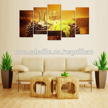 Most Popular Grape Wall Art With 5 Panel Wall Art Wine Grape Canvas Painting For Kitchen Restaurant (View 11 of 15)