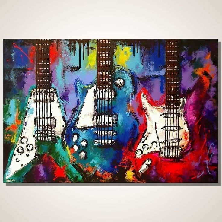 Most Popular Guitar Canvas Wall Art Inside Music Paintings Canvas Luxury Guitar Painting On Canvas Music Wall (View 11 of 15)