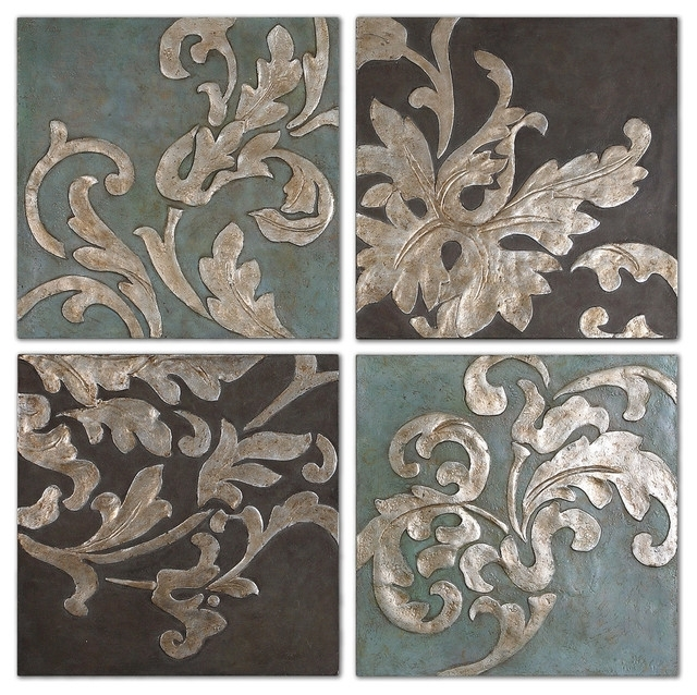 Most Popular Houzz Abstract Wall Art Inside Damask Relief Blocks Wall Art, 4 Piece Set – Traditional – Paintings (View 9 of 15)