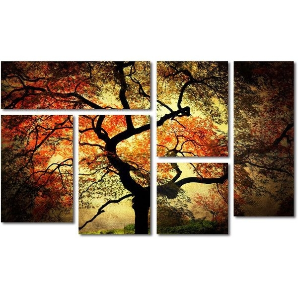Most Popular Japanese Wall Art Panels Throughout Japanese Tree 6 Panel Canvas Wall Art Set ($245) ❤ Liked On (View 12 of 15)