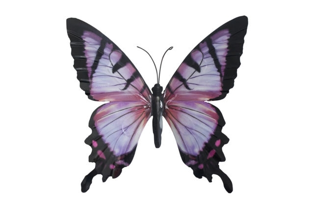 Most Popular Large Metal Butterfly Wall Art Inside Large Metal Butterfly Pink And Black – Outdoor Garden Wall Art (View 10 of 15)