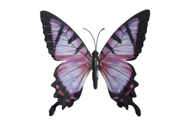 Most Popular Large Metal Butterfly Wall Art Inside Large Metal Butterfly Pink And Black – Outdoor Garden Wall Art (View 13 of 15)