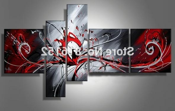 Most Popular Large Red Black Grey Abstract Canvas Picture Wall Art Split Multi 5 Throughout Split Wall Art (View 10 of 15)