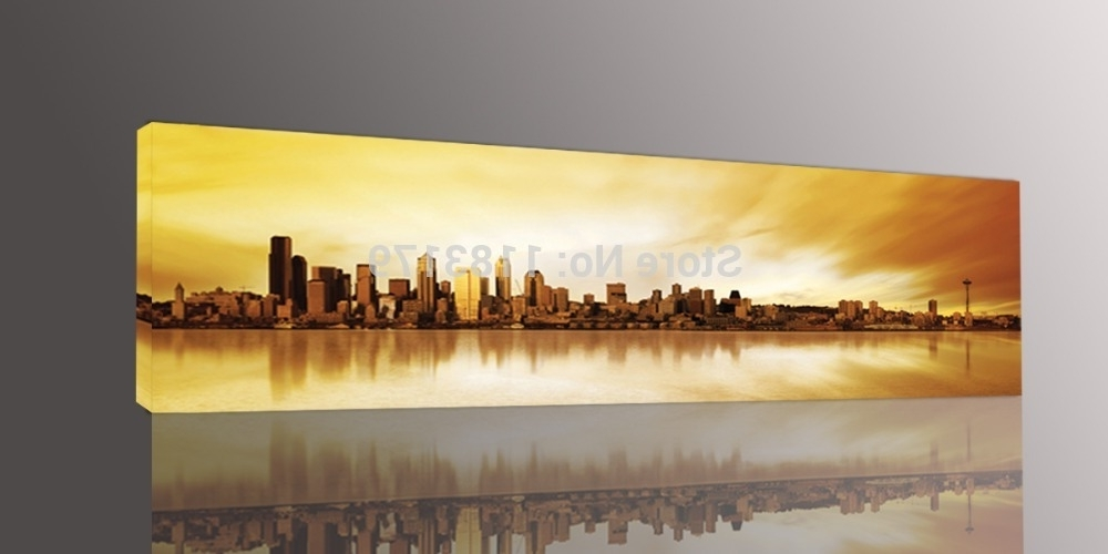 Most Popular Large Yellow Wall Art Pertaining To Long Yellow City Painting Canvas Wall Art Picture Print For Living (View 12 of 15)