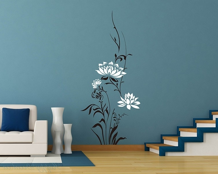 Most Popular Lotus Flowers Vinyl Wall Art Decal Modern Stickers Pertaining To Modern Vinyl Wall Art (View 10 of 15)