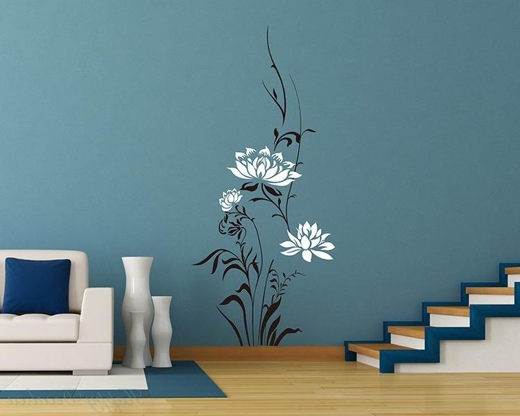 Most Popular Lotus Flowers Vinyl Wall Art Decal Modern Stickers Pertaining To Modern Vinyl Wall Art (View 10 of 15)