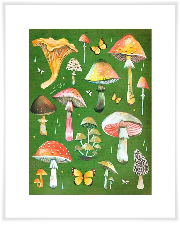 Most Popular Mushroom Chart, Floral Canvas Wall Art (View 2 of 15)