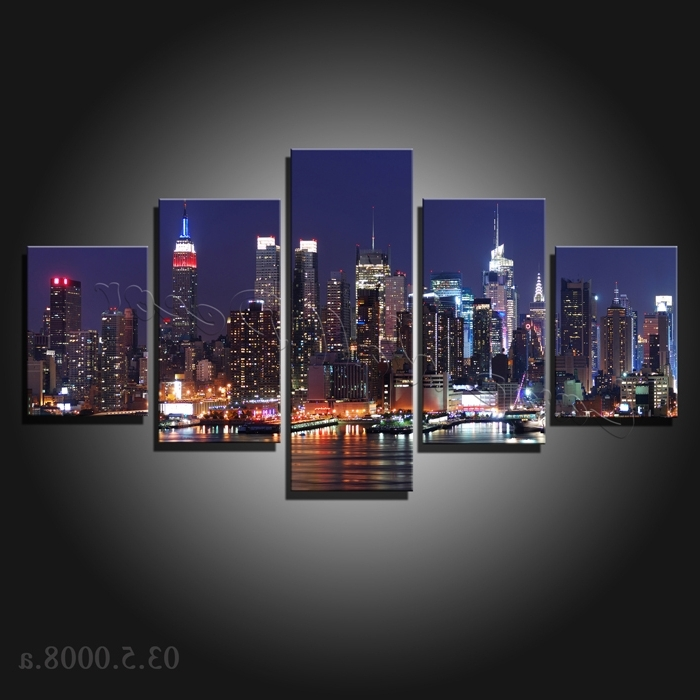 Most Popular New York City Canvas Wall Art Inside 5 Pieces Large Canvas Painting New York City At Night Canvas Prints (View 10 of 15)