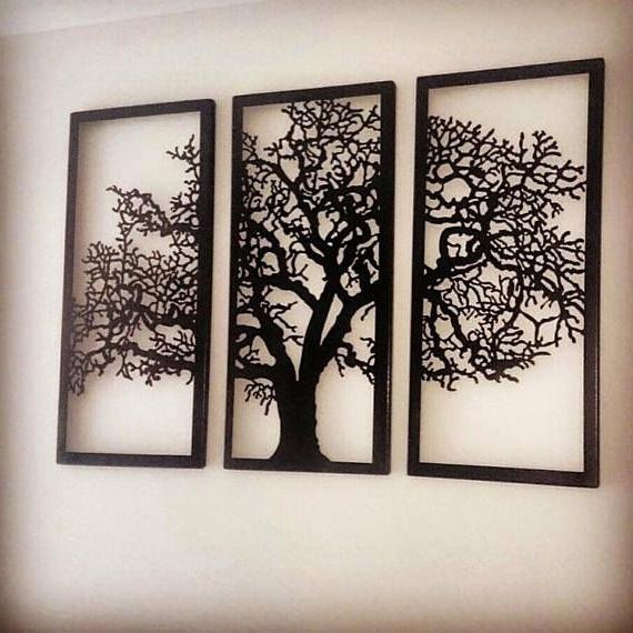 Most Popular Oak Tree Metal Wall Art With Regard To Metal Wall Art Decor 3D Sculpture 3 Piece Oak Tree Modern (View 2 of 15)