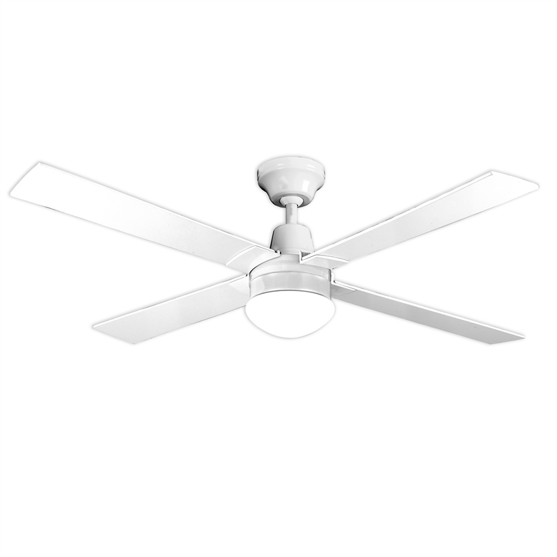 Most Popular Outdoor Ceiling Fans At Bunnings Throughout Arlec 120Cm White 4 Blade Ceiling Fan With Oyster Light (View 9 of 15)
