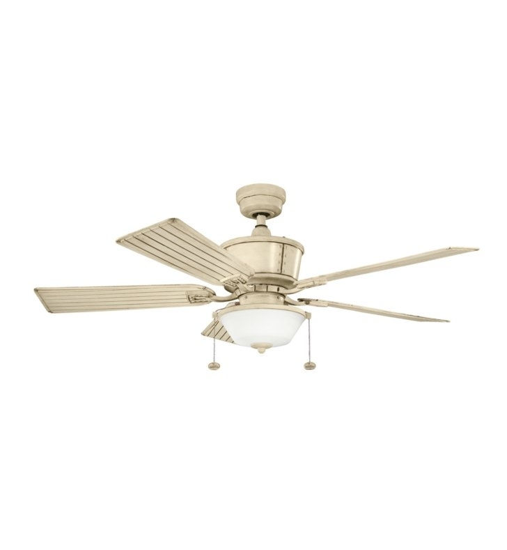 "Most Popular Outdoor Ceiling Fans With Long Downrod Intended For Kichler 300162Aw Cates 52"" Outdoor Ceiling Fan With 5 Blades And Downrod (View 9 of 15)"