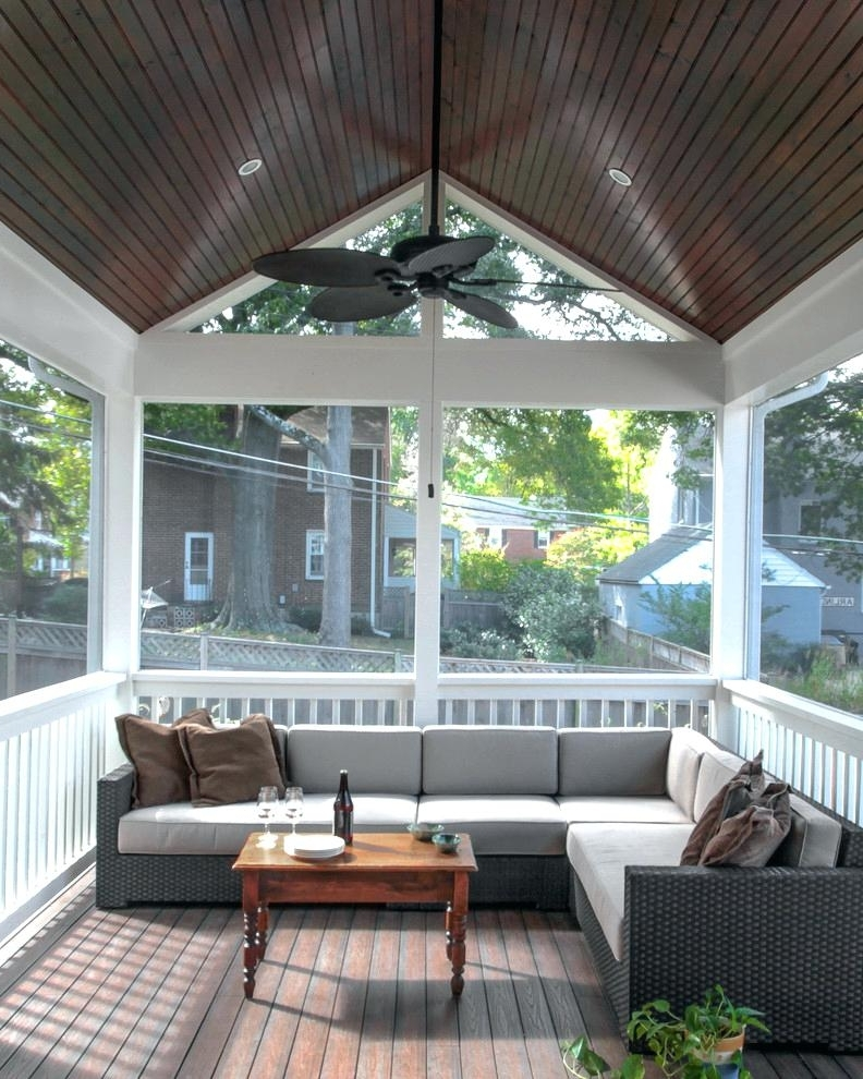 Most Popular Patio Ceiling Ideas Porch Ceiling Ideas Porch Traditional With Regarding Outdoor Ceiling Fans For Screened Porches (View 5 of 15)