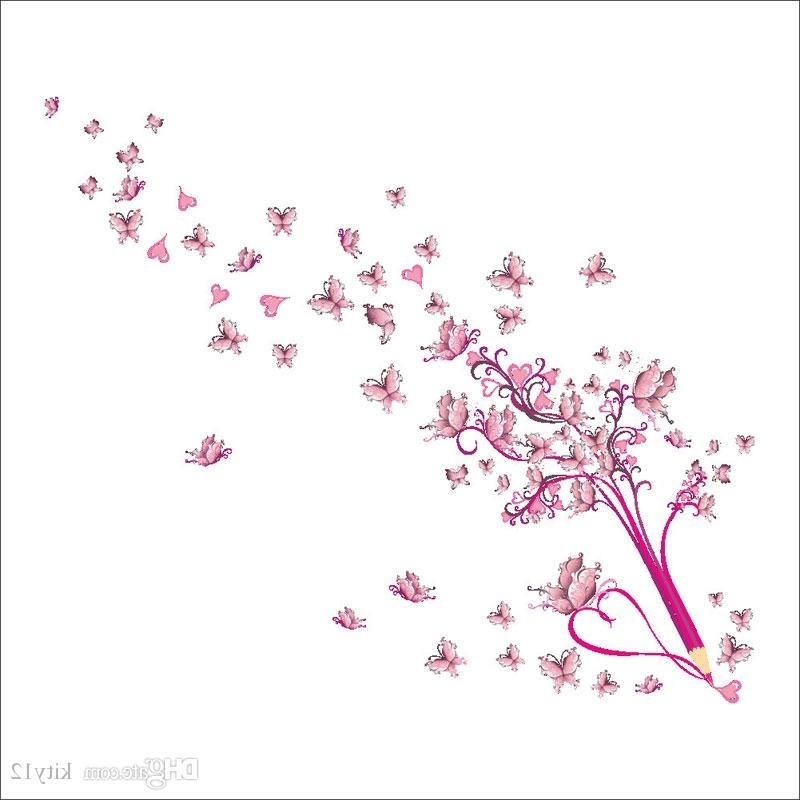Most Popular Pink Butterflies Wall Stickers Flowers Art Home Decor Wall Decals For Pink Butterfly Wall Art (View 7 of 15)