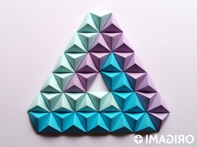 Most Popular Pyramid Origami Origami Pyramid Origami Pyramid Pixels For 3D Paper Intended For 3D Paper Wall Art (View 12 of 15)