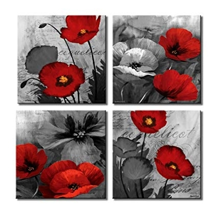 Most Popular Red Poppy Canvas Wall Art Throughout Amazon: Lky Art Red Wall Art Elegant Poppy Red Flower Wall Art (View 8 of 15)