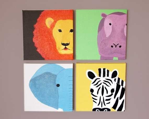 Most Popular Safari Animal Canvas Wall Art For Nursery (View 11 of 15)