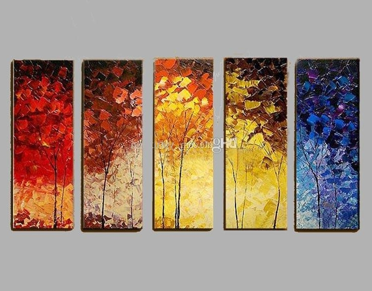 Most Popular Seasonal Wall Art With Handpainted Oil Painting Seasonal Landscape Tree Art Wall On Canvas (View 7 of 15)
