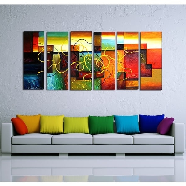 Most Popular Shop 'multi-Color Abstract Art' Hand Painted Canvas Art (6 Piece with Overstock Abstract Wall Art