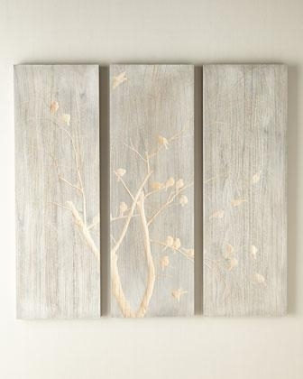 Most Popular Silver And Gold Wall Art In Three Piece Willow And Bird Silver And Gold Wall Panel (View 4 of 15)