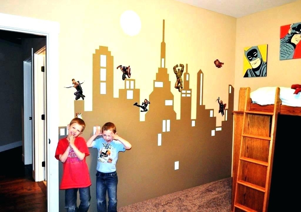 Most Popular Superhero Wall Decor Picture Gallery Murals Decals For Kids Rooms Inside Superhero Wall Art For Kids (View 6 of 15)