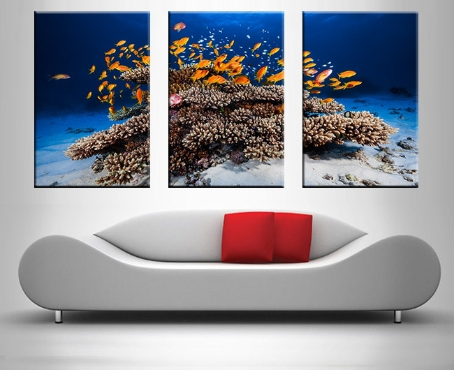 Most Popular Three Panel Wall Art Regarding Coral Reef Panel Wall Cute 3 Panel Wall Art – Wall Decoration And (View 7 of 15)