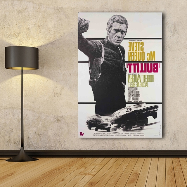 Most Popular Wall Art Poster Bullitt,steve Mcqueen,canvas Print Wall Pictures For Intended For Steve Mcqueen Wall Art (View 3 of 15)