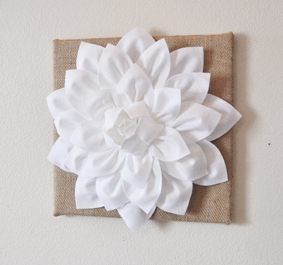 "Most Popular Wall Flower  White Dahlia On Burlap 12 X12"" Canvas Wall Art  3D Felt Inside White 3D Wall Art (View 4 of 15)"