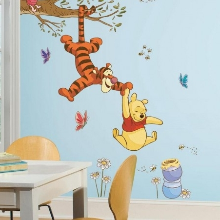 Most Popular Winnie The Pooh Wall Decor Intended For Winnie The Pooh Swinging For Honey Giant Wall Decals (View 6 of 15)