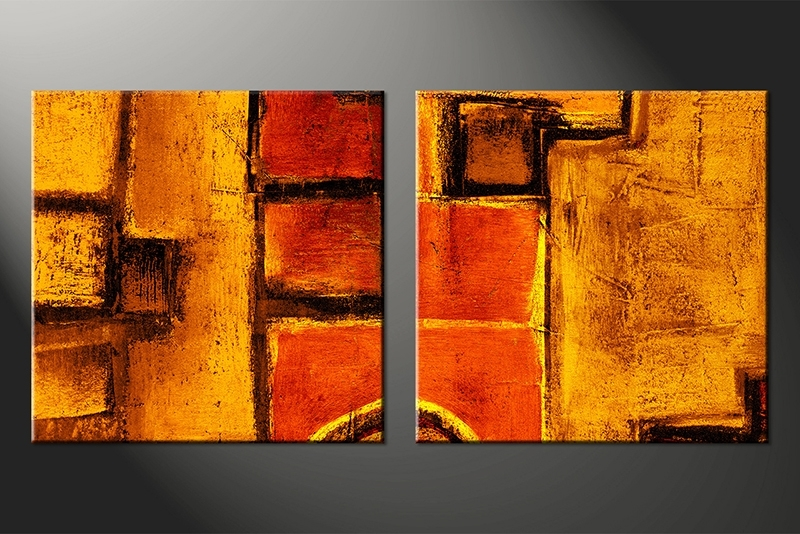 Most Recent 2 Piece Canvas Orange Abstract Wall Art Pertaining To Plan Within Abstract Orange Wall Art (View 2 of 15)