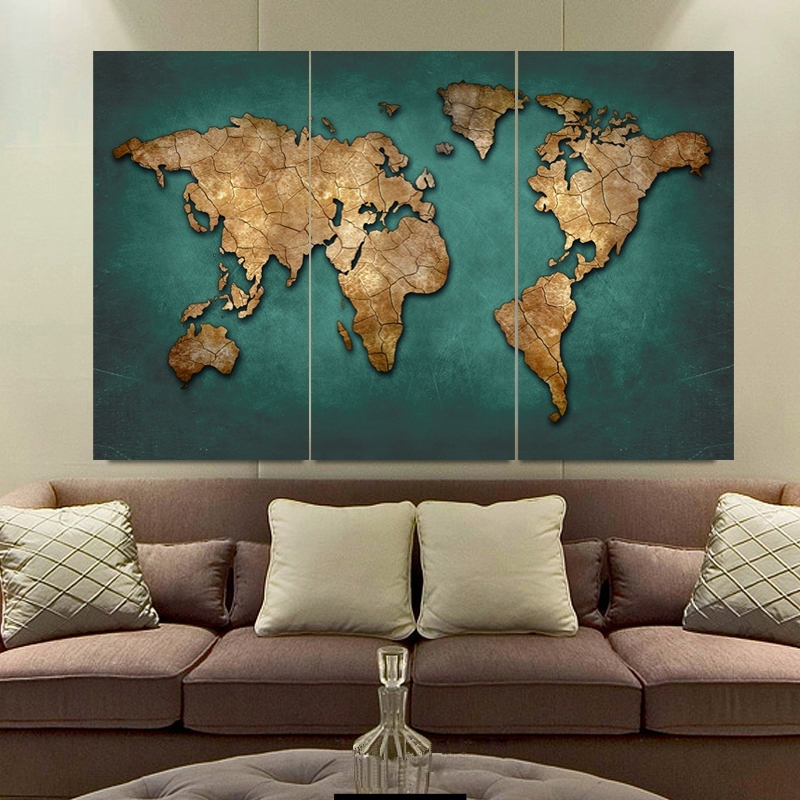 Most Recent 3 Panels Large Vintage World Map Canvas Painting Prints Modern Within Large Vintage Wall Art (View 10 of 15)