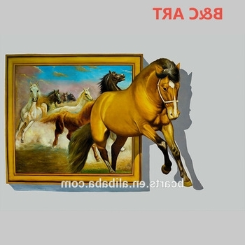 Most Recent 3D Horse Wall Art Intended For High Quality Animal Photos Running Horse Printing 3D Wall Art Canvas (View 12 of 15)