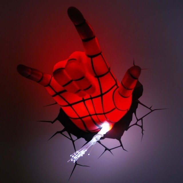 Most Recent 3D Wall Art Night Light Spiderman Hand Intended For Marvel Avengers Spider Man Hand 3D Deco Wall Led Night Light Art Fx (View 9 of 15)